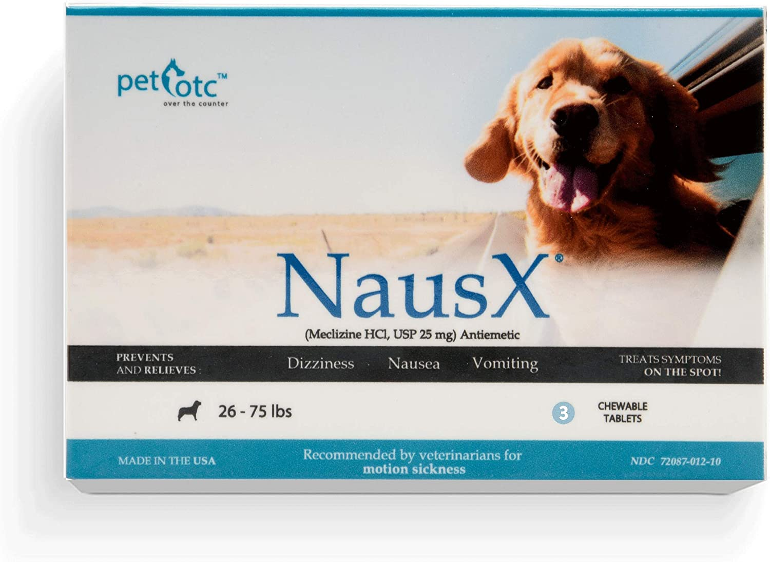 Nausx Anti-Motion Sickness and Nausea Relief for Medium Breed Dogs, Relief for Disorientation and Dizziness, 3 Dose Travel Pack, NSXMT