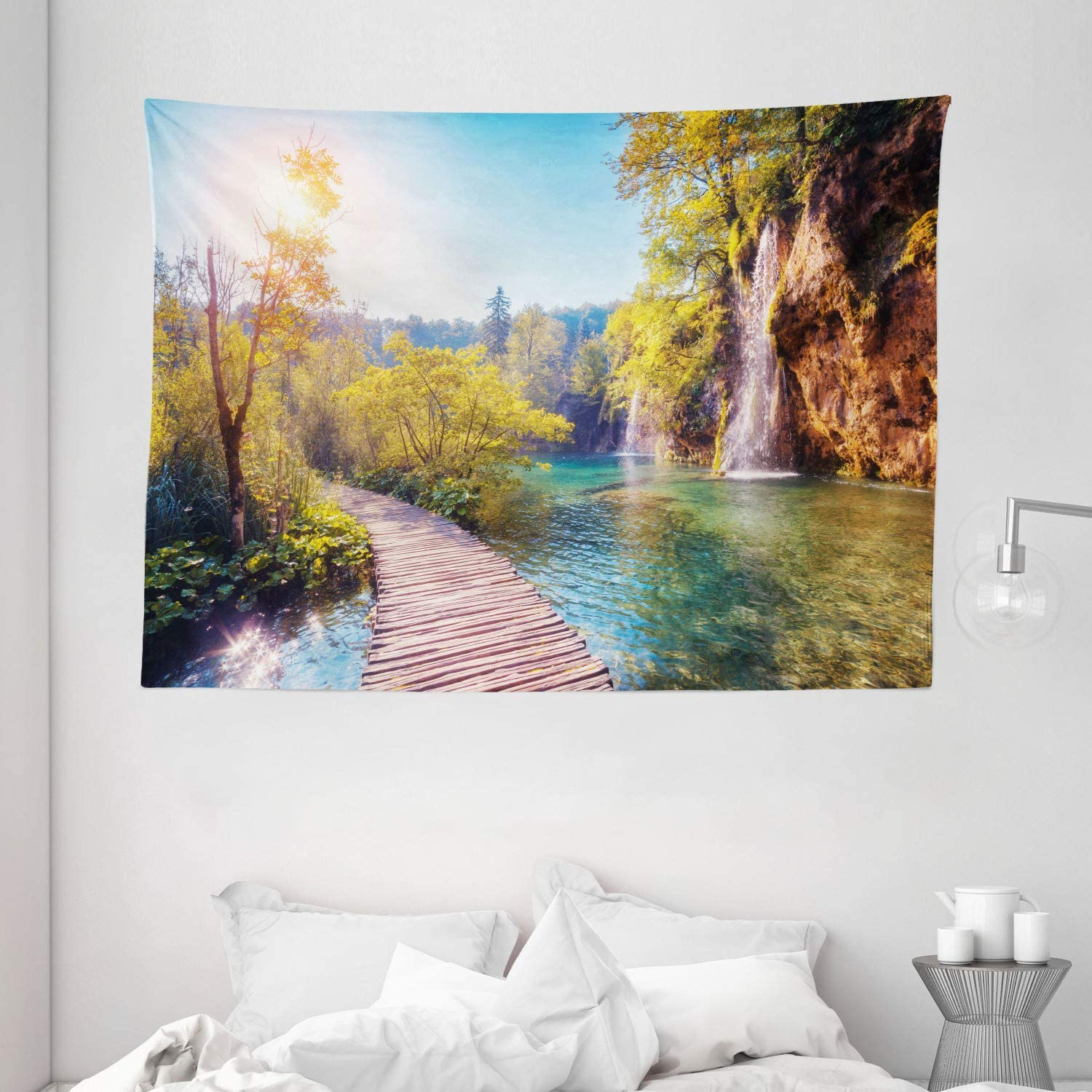 "Ambesonne Nature Tapestry, Idyllic Lake with Waterfall Flowing Down The Hills in National Park Autumn Scenery, Wide Wall Hanging for Bedroom Living Room Dorm, 80"" X 60"", Blue Green"
