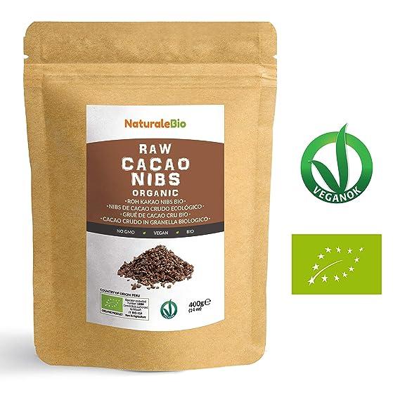 Nibs de Cacao Crudo Ecológico 400 g | 100% Puntas de Cacao Bio, Natural