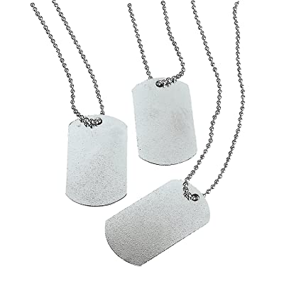 Fun Express - Dog Tag Necklaces - Jewelry - Necklaces - Dog Tag Necklaces - 12 Pieces: Clothing