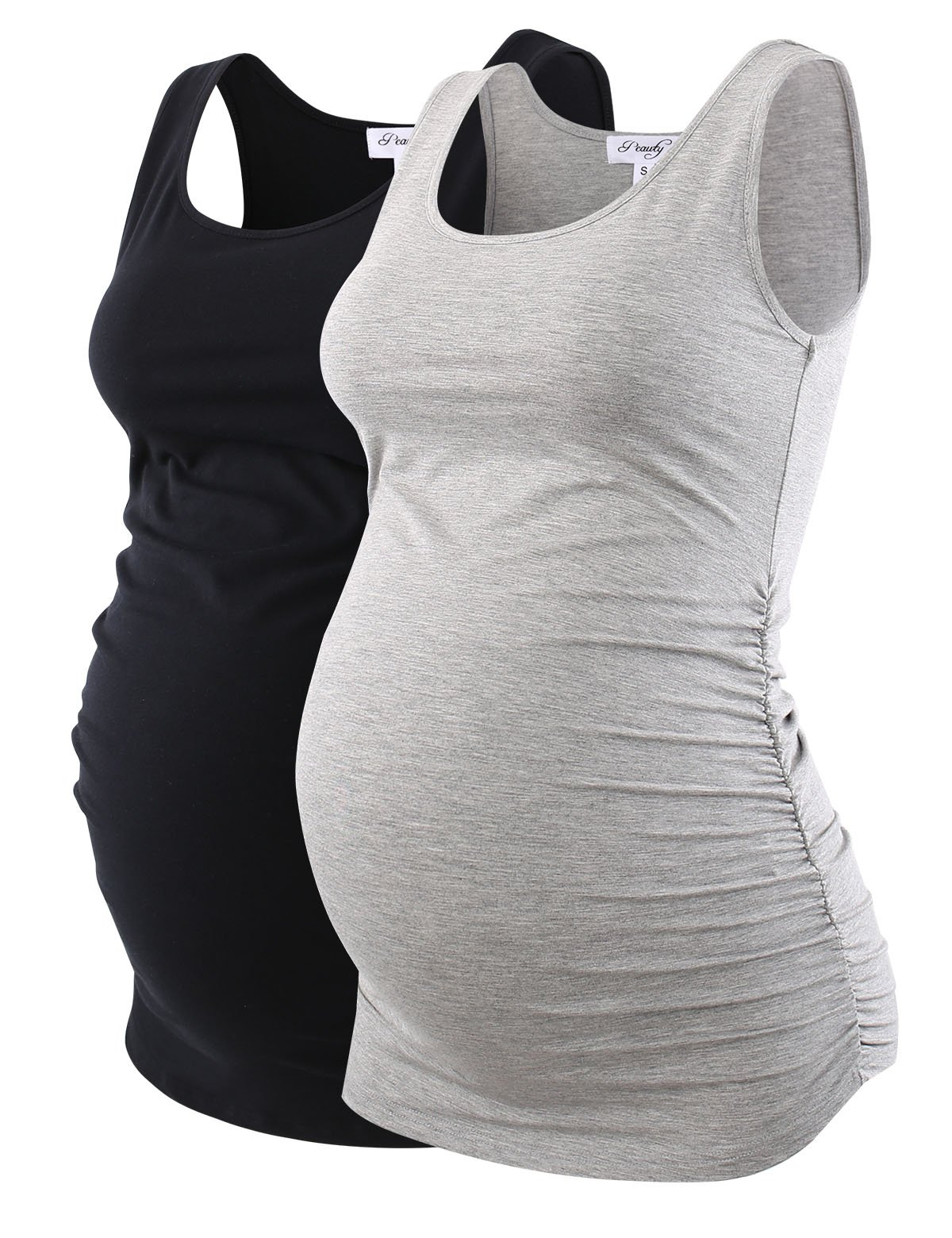 Peauty Maternity Tank Tops Bathing Suit t Shirts Shorts Pregnancy Clothes Women Plus Size 2X 3X (Black+Gray,M)