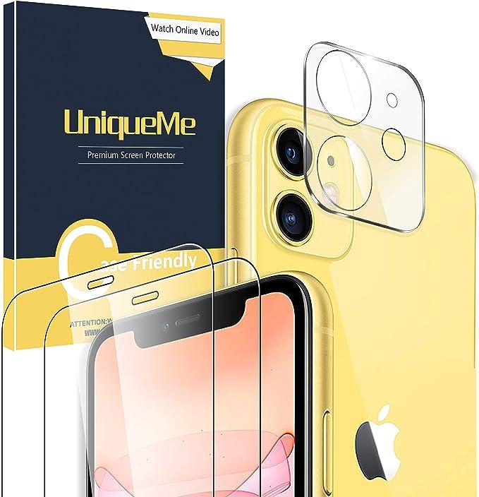 UniqueMe [2 Pack] Protector de Pantalla para iPhone 11 [6.1 inch] + [1 Pack] Protector de Lente de cámara para iPhone 11, Vidrio Templado [9H Dureza ] HD Film Cristal Templado: Amazon.es: Electrónica