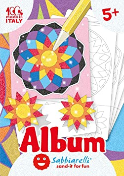 Imagen deSabbiarelli Sand-it For Fun - Álbum Los Mandala: 5 Dibujos pre-pegados para Colorear con la Arena (Arena no incluida), Adecuado para niños de años 5+