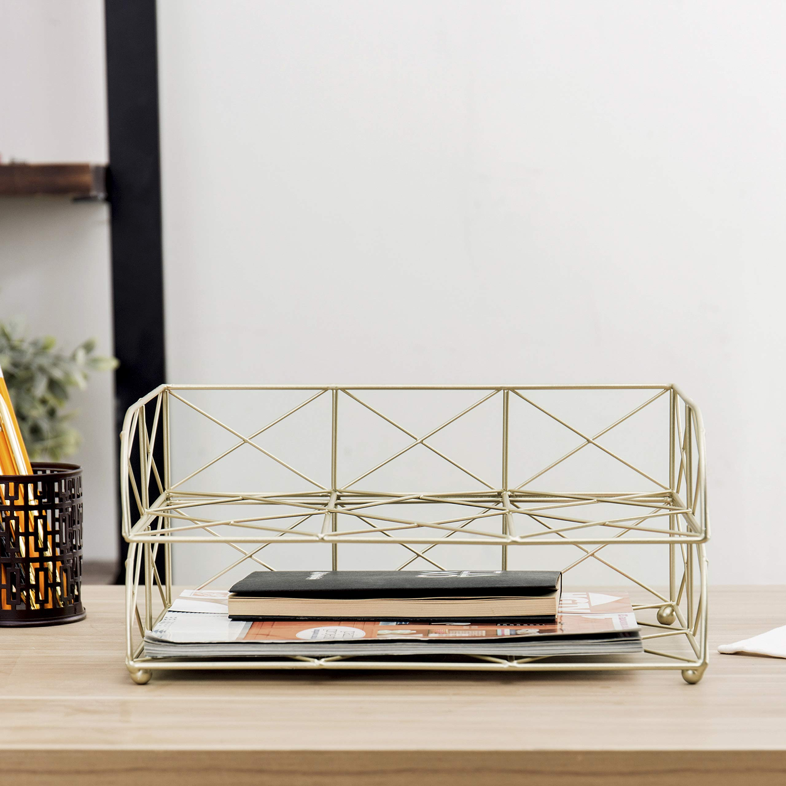 MyGift 2-Tier Geometric Light Gold-Tone Metal Desktop Stacked Letter Tray by MyGift (Image #4)