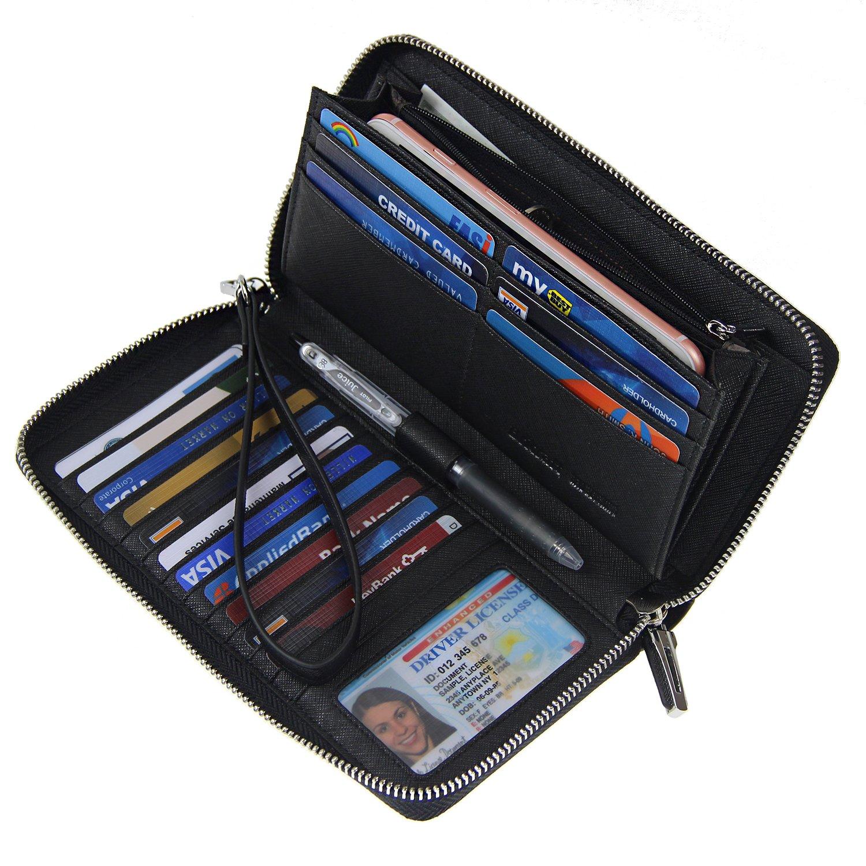 Women RFID Blocking Wallet Crossgrain Leather Zip Around Clutch Large Travel Purse Black