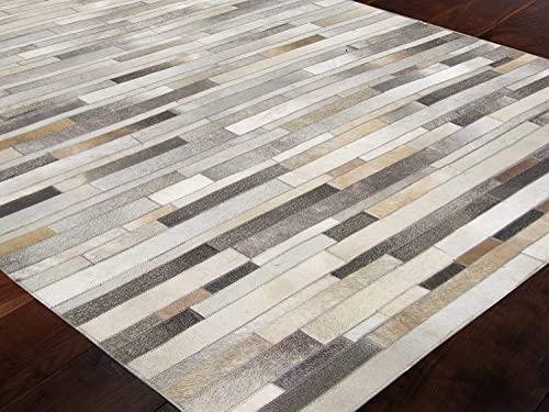 Allen Home Cowhide Jacquard 3X5 4X6 5X8 6X9 8X10 8X11 9X12 Modern Patchwork Gray Stripes AH11 Natural Gray Brown Leather Handwoven flatweave Patchwork Hand Made Hairhide Area Rugs Carpet 9'X12'