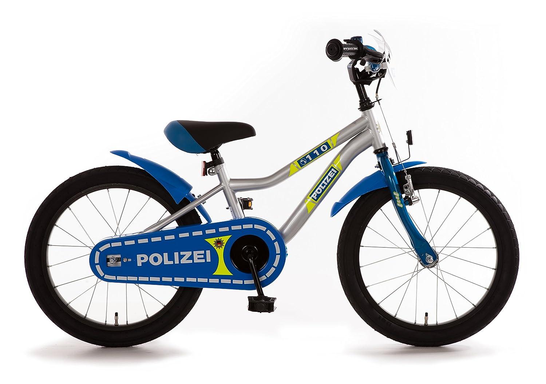 Bachtenkirch Kinderfahrrad 18 Zoll Polizei K-Rahmen blau Silber Neongelb Seitenständer
