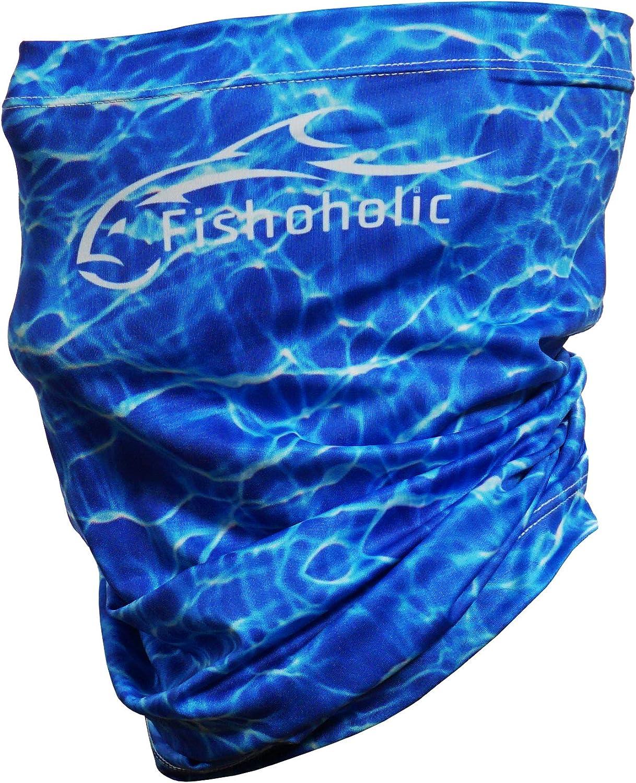 Fishoholic Fishing Face Mask -2 Color Options- UPF50+ Fishing Neck Gaiter Sun Wind Dust Sun Protection & Also Bandana Scarf for Men Women Hunting Kayak Fish Bass