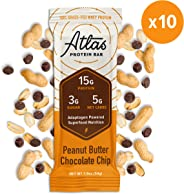 Atlas Protein Bar - Keto Friendly, Peanut Butter Chocolate Chip — Grass Fed Whey, Low Sugar, Clean Ingredients, Gluten Free,