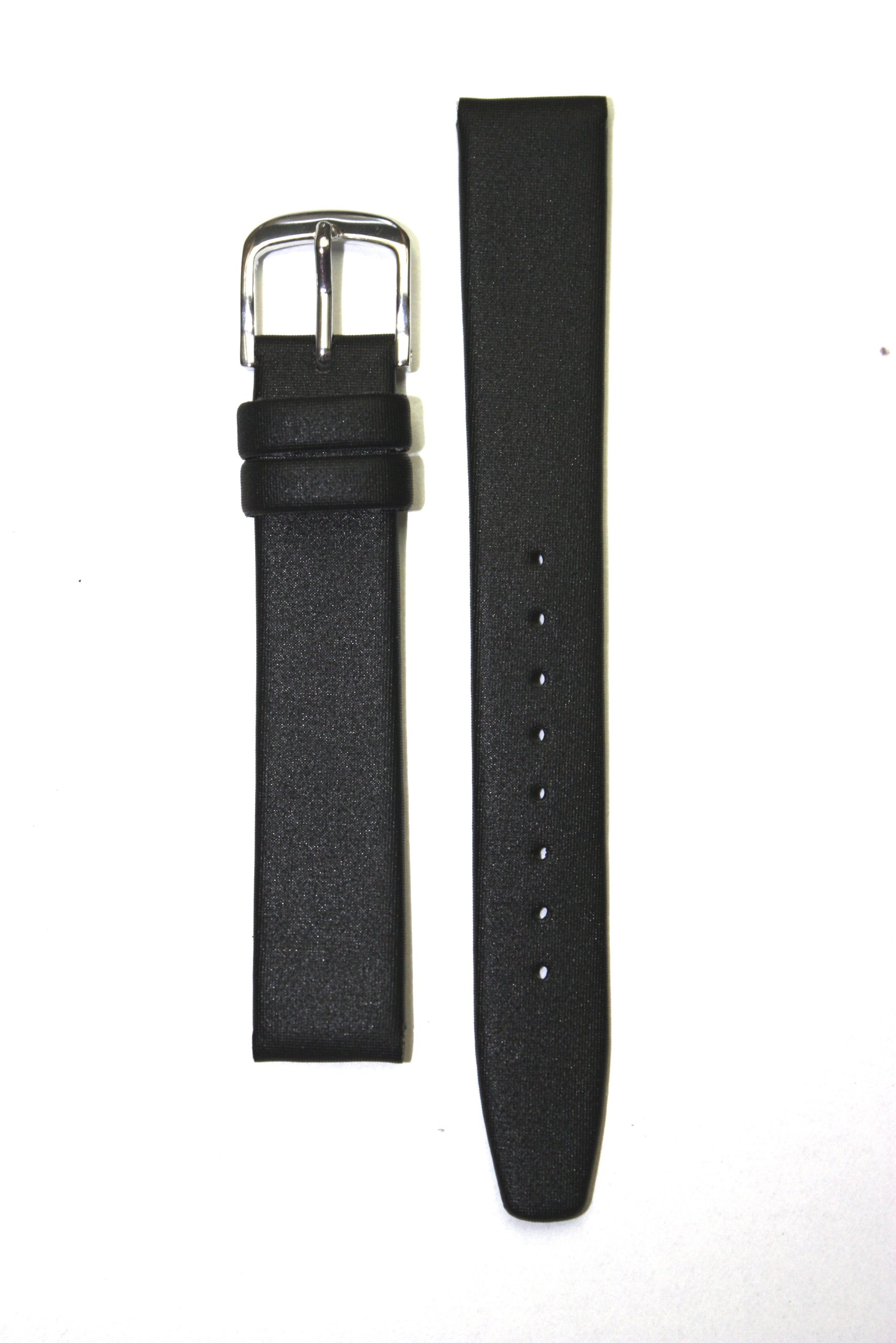 Locman Style 15mm Black Satin Watchband with Chisel Point Ends, S/S Buckle, and Leather Lining