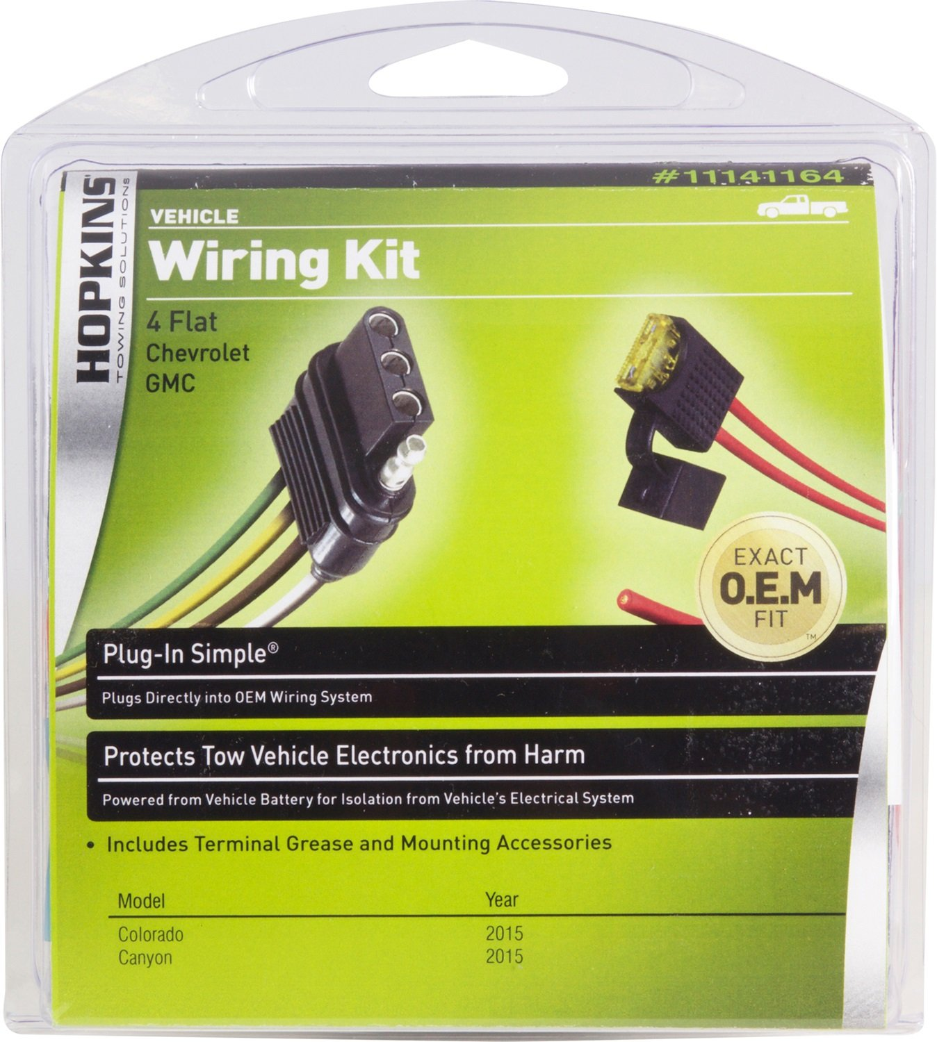 Hopkins 41164 Plug In Simple Wiring Kit Automotive Vehicle Harness With 4 Pole Trailer