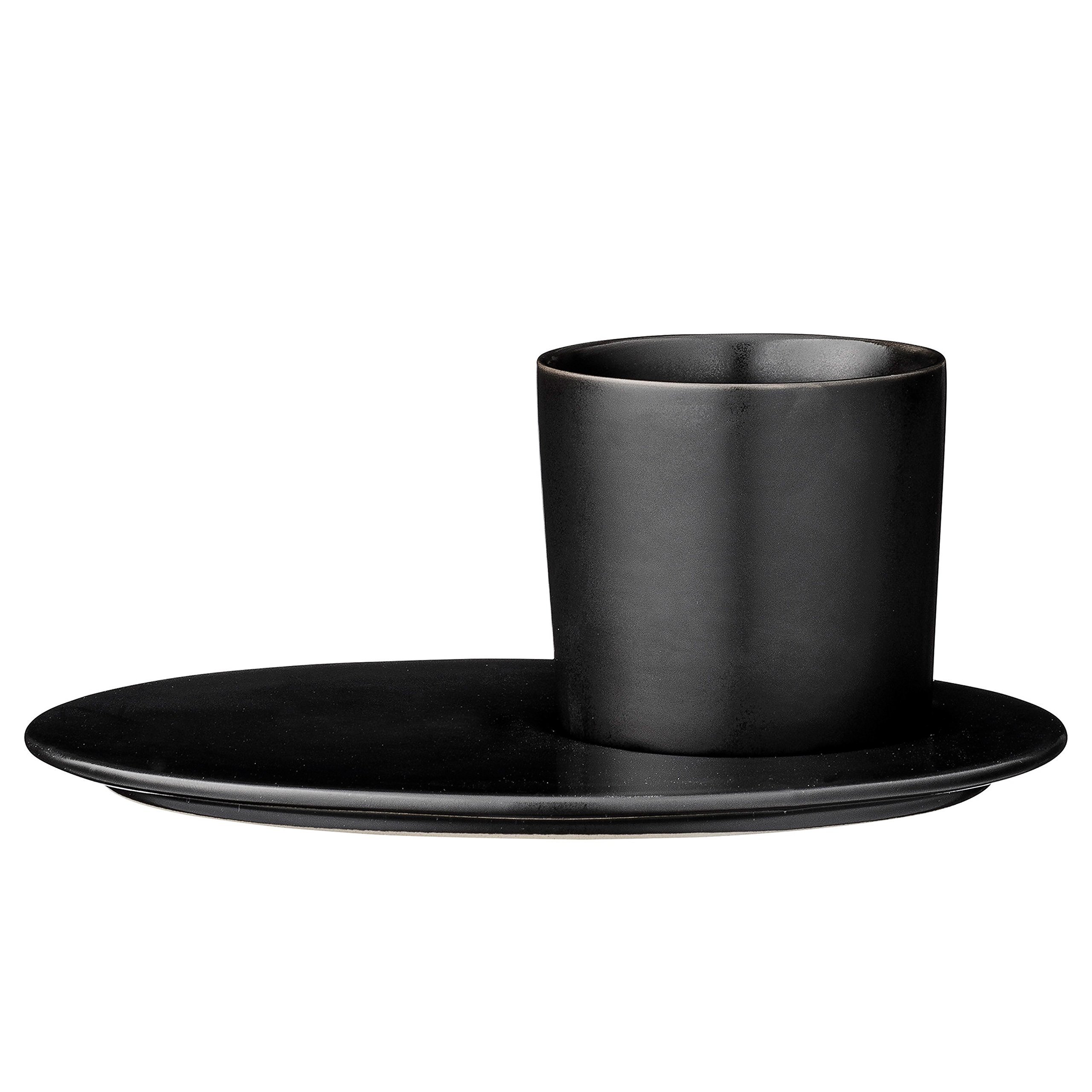 Bloomingville A21100592 Ceramic Gitte Plate and Cup Set, Black