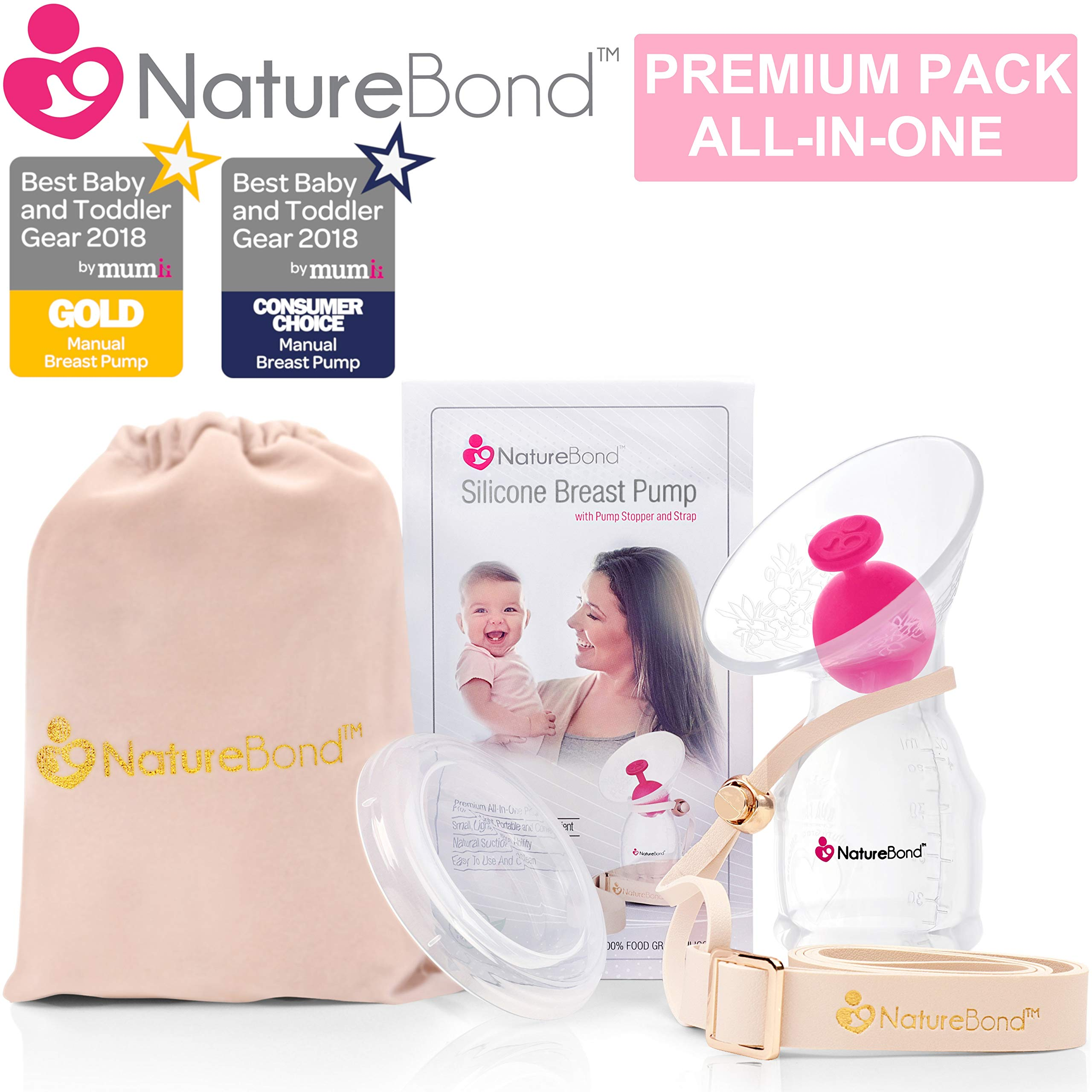 NatureBond Silicone Breastfeeding Manual Breast Pump Milk Saver Nursing Pump | All-in-1 Pump Strap, Stopper, Cover Lid, Carry Pouch, Air-Tight Vacuum Sealed in Hardcover Gift Box. BPA Free by NatureBond