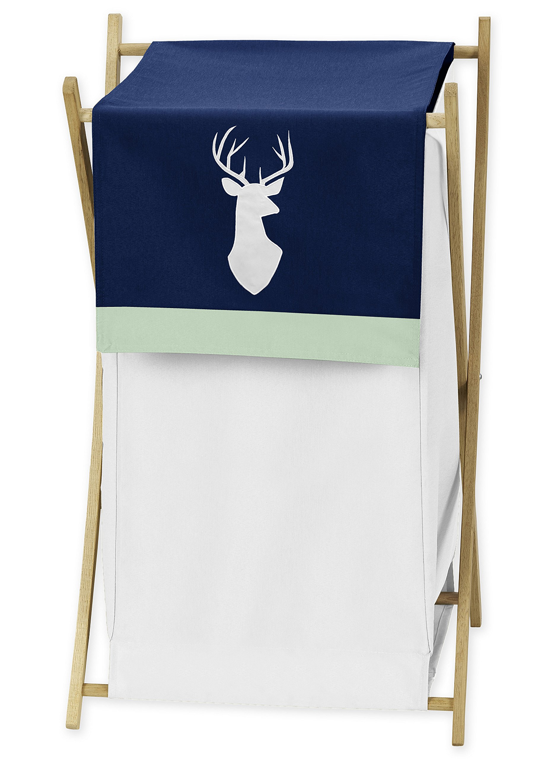 Sweet JoJo Designs Baby/Kids Clothes Laundry Hamper for Navy Blue, Mint and Grey Woodsy Deer Boys Bedding Sets