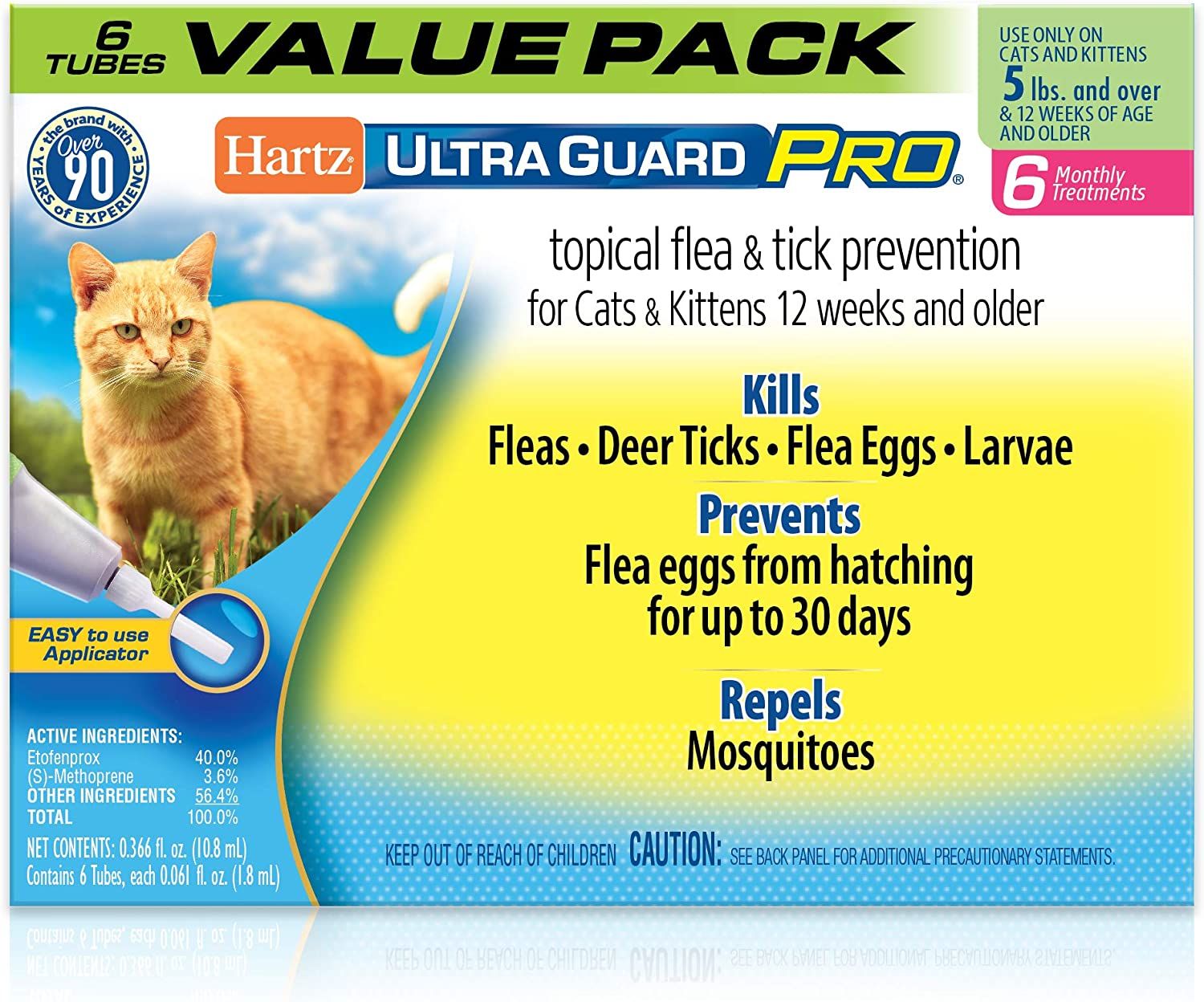 Amazon Com Hartz Ultraguard Pro Topical Flea Tick Prevention For Cats Kittens Over 5 Lbs 6 Monthly Treatments Pet Supplies