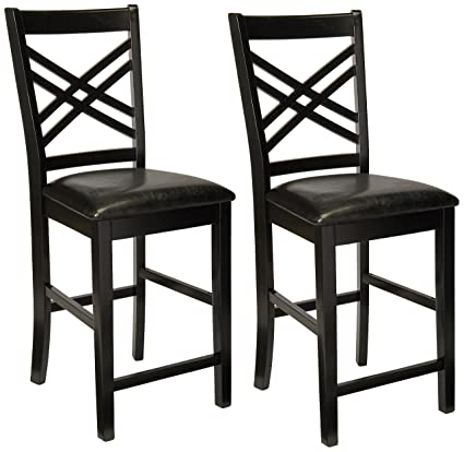 Amazon.com - Poundex B00Y4GPFQK Dining Chairs, Black - Chairs