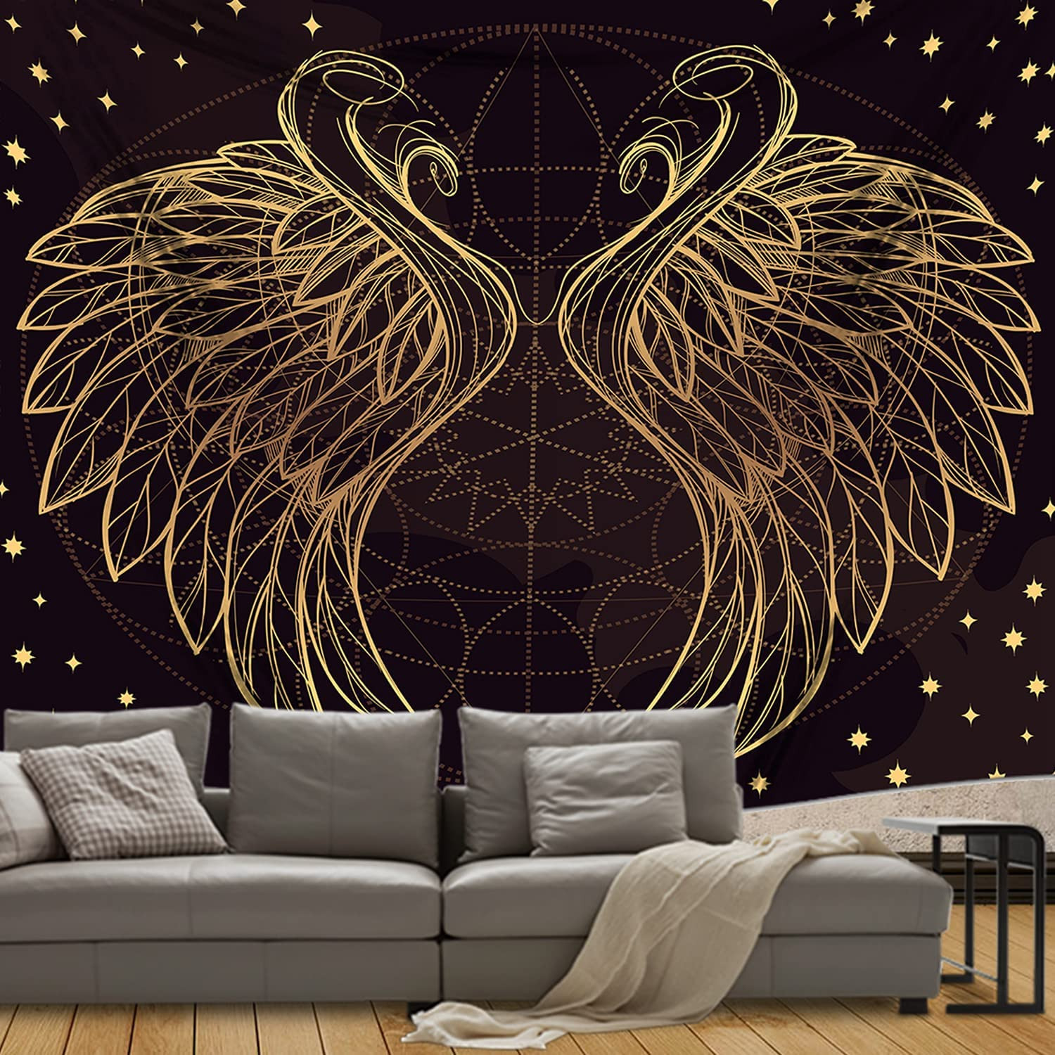 Tapestry Angel Wings Astrolabe Tapestry Starry Abstract Tapestries Black and Gold Mystic Tapestry Wall Hanging for Bedroom, Living Room, Dorm Home Wall Decor(51x59 Inches, 130x150 cm)