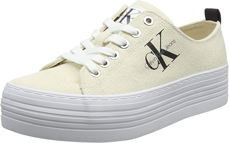 Calvin Klein Jeans Zolah Canvas Sneaker Damen Weiß/Hellgelb