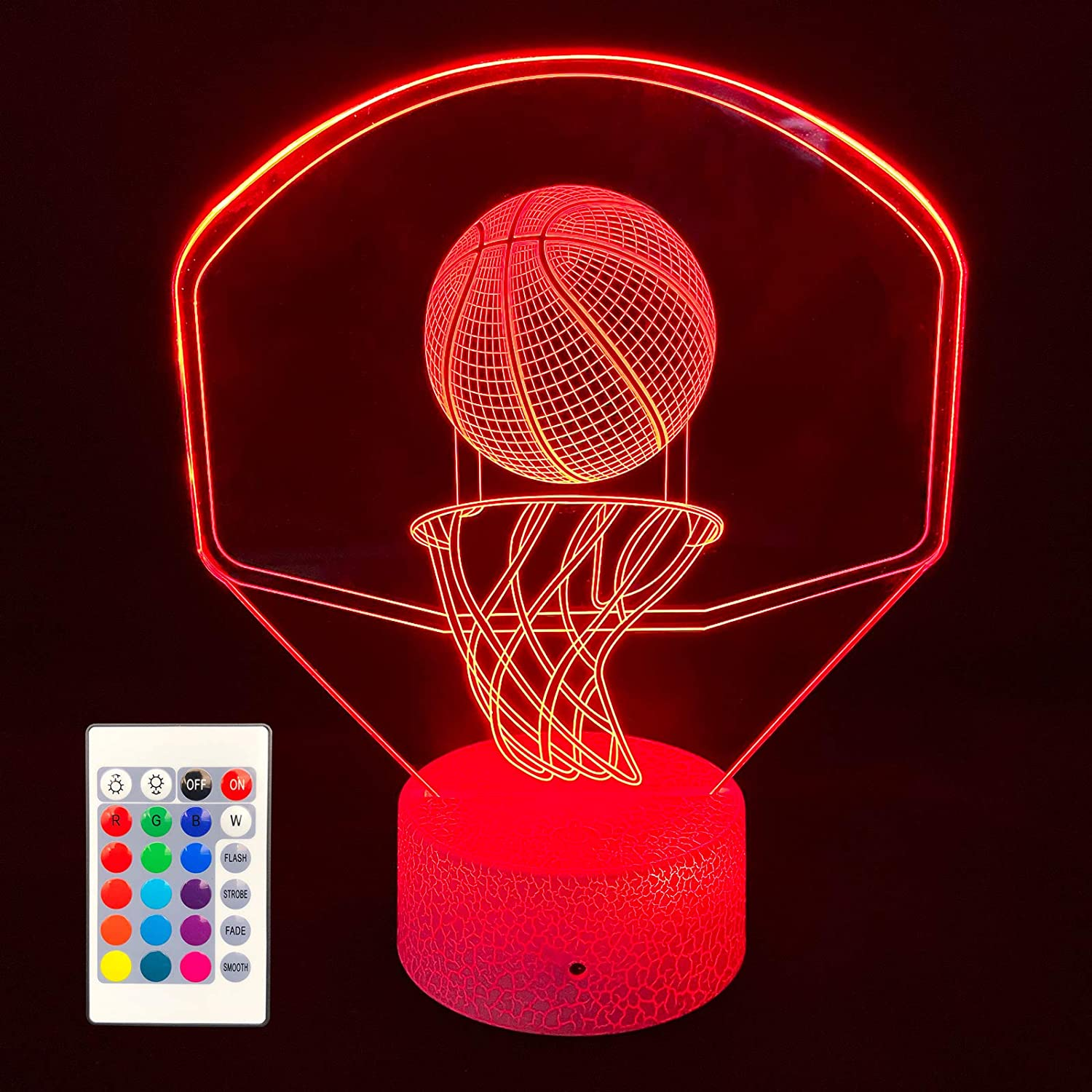 3D Illusion Lamp, Basketball Night Light Backboard Illusion Hoop Lamp for Kids 16 Colors Changing with USB Powered, Touch & Remote Control Room Decor Lighting Best Birthday Xmas Gifts for Boys Girls