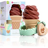 NatureBond Silicone Baby Teether - Cute Ice Cream Infant Teething Toy With Free Silicone Sling Pacifier Holder Clip | 5…