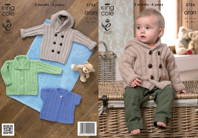 KNITTING Pattern-Childs Aran Hooded /& Round neck cardigan-Aran-wool-1-7ears