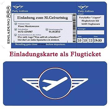 Fesselnd Einladungskarten Motiv: Flugticket Zum Geburtstag 30 40 50 Einladung Als  Boarding Pass Ticket Mit Abriss