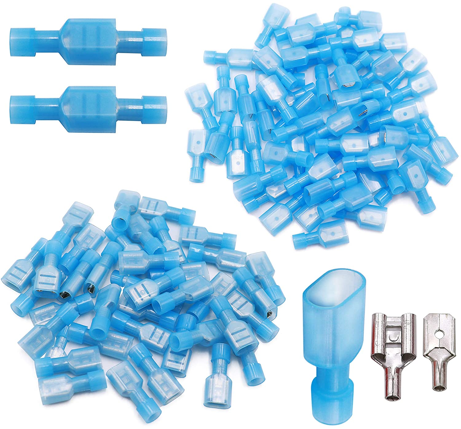 Tnisesm 120Pcs Female Spade Wire Connectors, Blue 16-14AWG Fully Insulated Nylon Quick Disconnect Electrica Crimp Cold-Pressed Terminal Connectors FDFN2-250-B