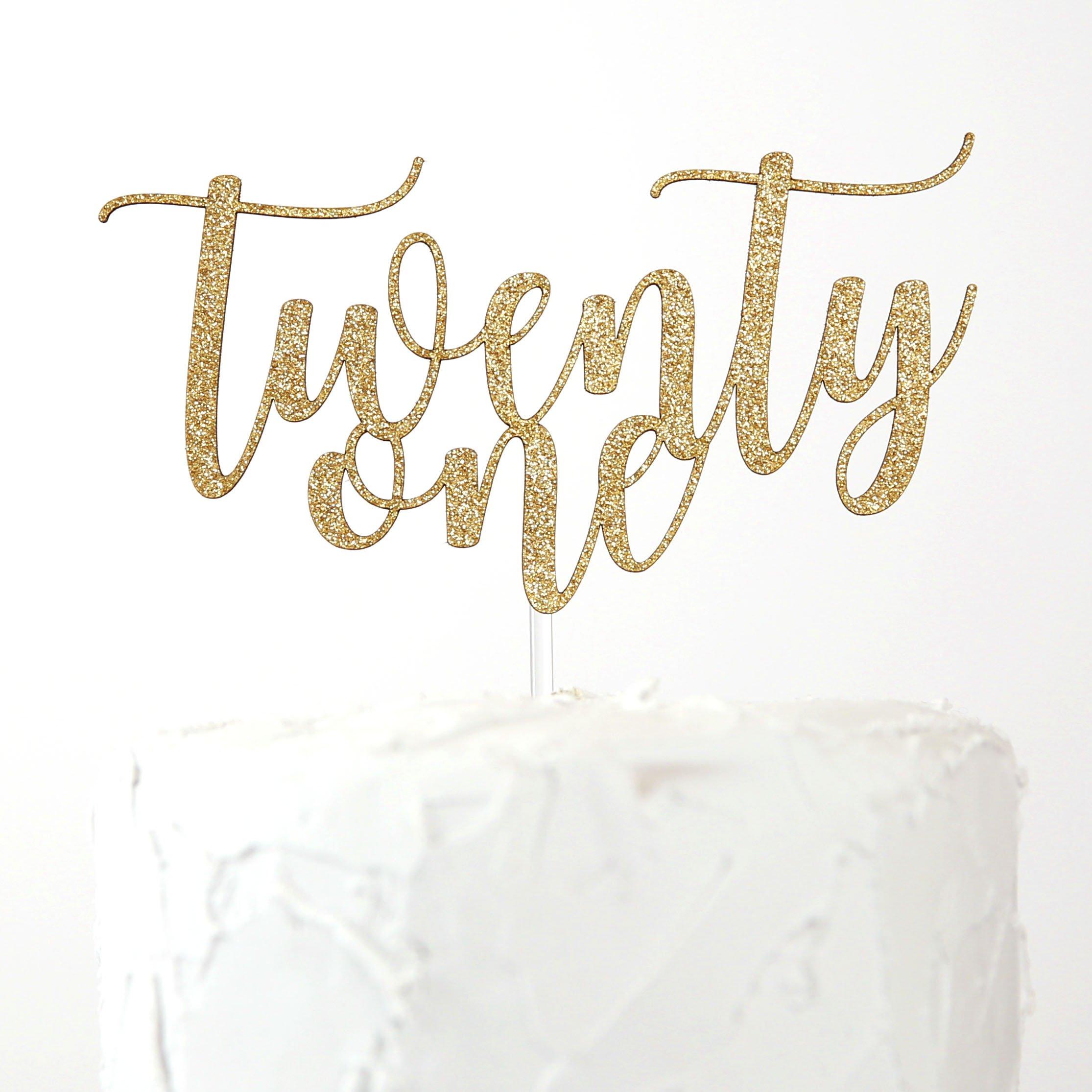 NANASUKO 21st Birthday Cake Topper - twenty-one - Premium quality Made in USA