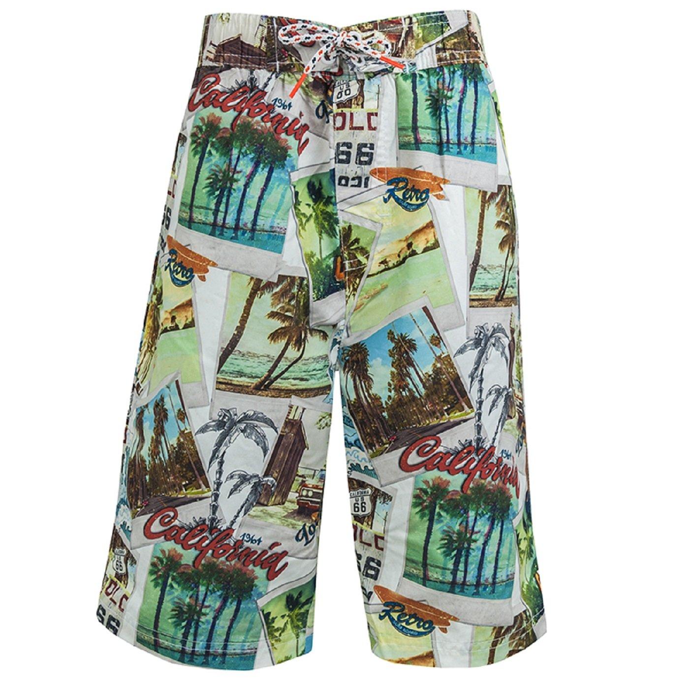 Big Boys Kids Long Knee Length Swim Shorts Swim Trunks Children Surf Board Wear Mesh Lined Blue Black White Printed Size XXS - L 9 10 11 12 13 14 15 16 Years
