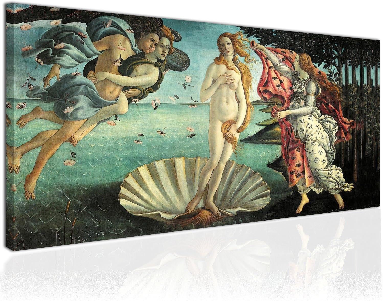 Cuadro XXL sobre Lienzo, Imagen Panorámica 100x50cm, El Nacimiento de Venus, Diosa del Amor e Belleza - Renacimiento Botticelli - Decoración de Pared, Imagen Panorámica - Una Pieza, Listo para Colgar