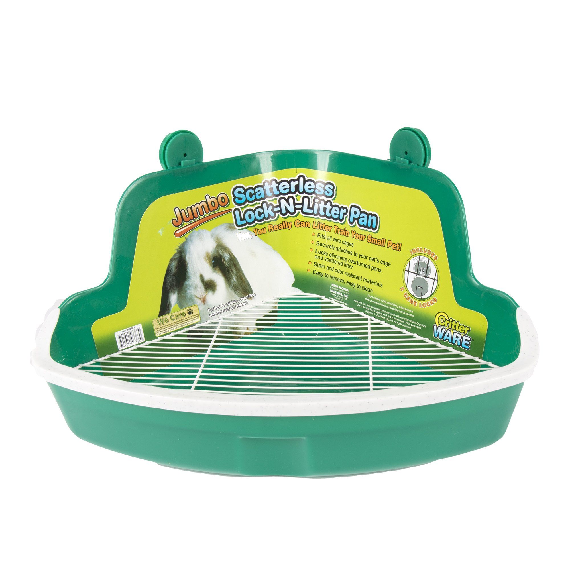 Ware Manufacturing Plastic Scatterless Lock-N-Litter Bigger Pet Pan, Jumbo - Colors May Vary by Ware Manufacturing
