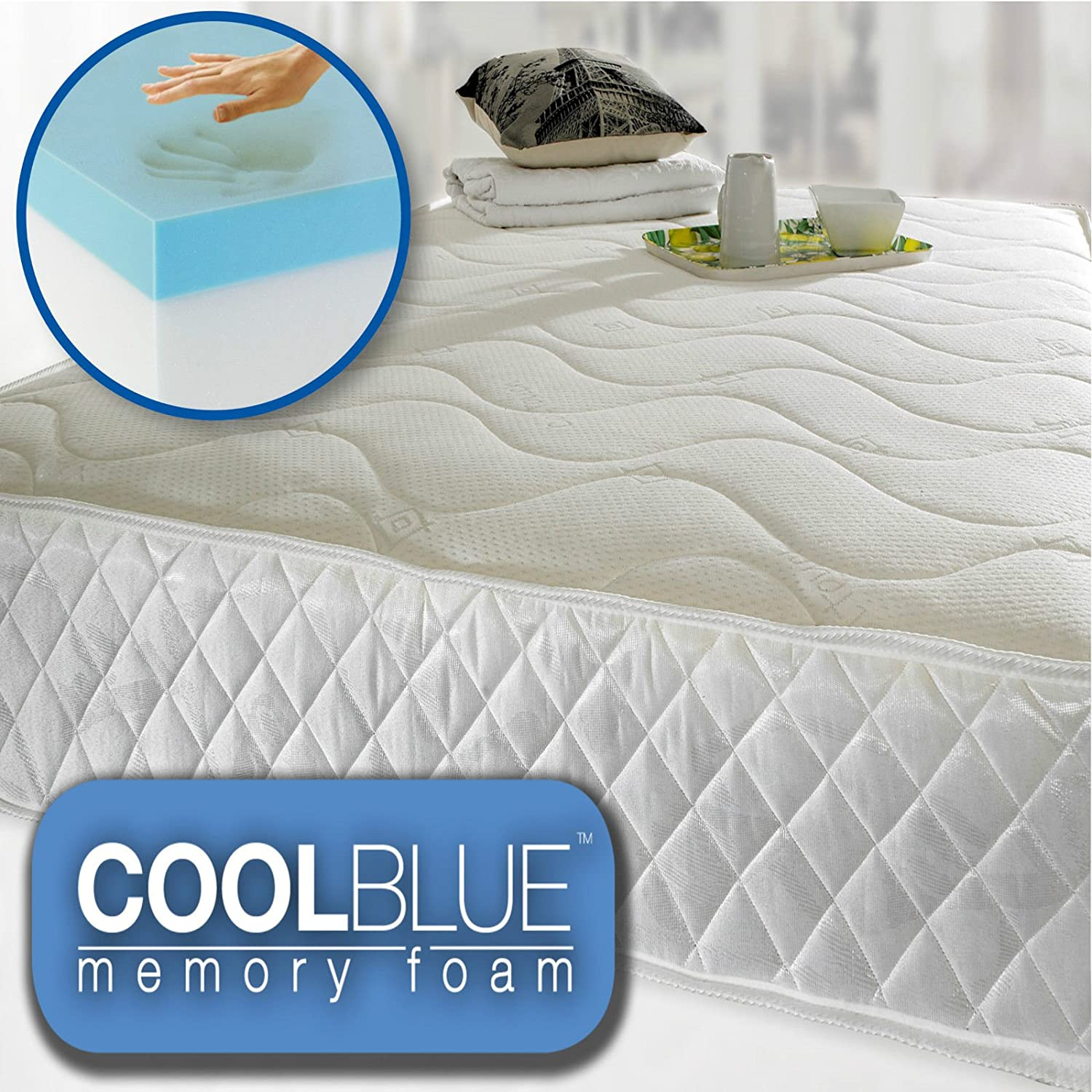 6ebee6bae3ec Cool Blue Memory Foam Open Coil Mattress Luxury Quilted 4ft6 Double Size   Energy Class A+++