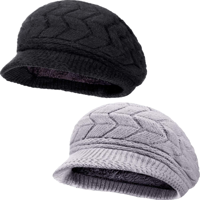 SATINIOR 2 Pieces Women Winter Beret Hats Warm Knit Caps Snow Ski Hats with Visor