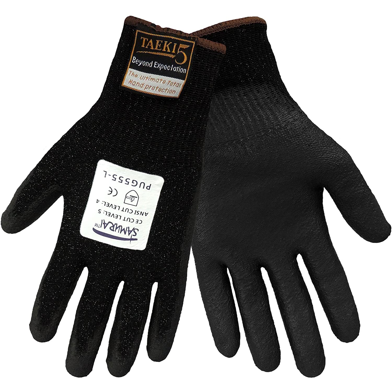 Global Glove PUG-555 Samurai Taeki5 Polyurethane Glove Black Cut Resistant Extra Large Case of 72 PUG-555-XL