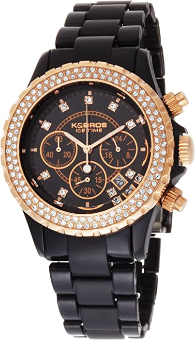 K BROS Women s 9528-1 Ice-Time Verso Crystal Accented Black Watch   Amazon.ca  Watches f3386886ed