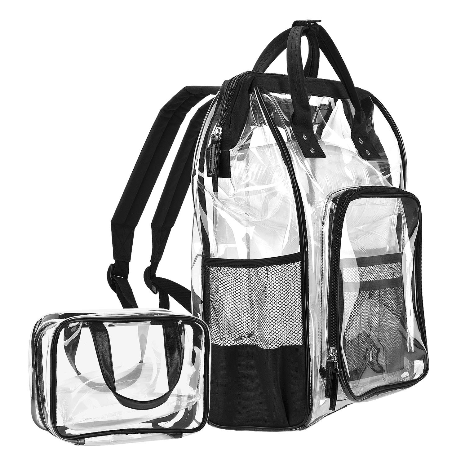 icyber Clear Backpack, clear Transparent PVC Multi-Pockets School Backpacks/Outdoor Backpack with Cosmetic Bag, Fit 15.6 Inch Laptop Travel Rucksack with Trim-Adjustable Straps & Mesh Side (Black)