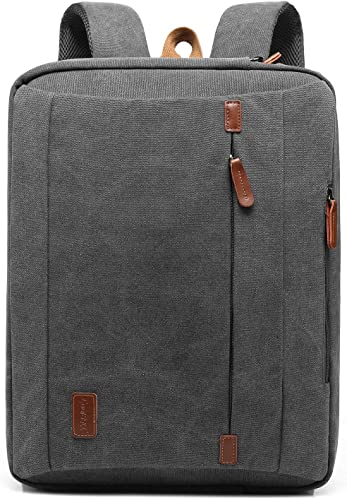 CoolBELL 17.3 Inches Convertible Laptop Messenger Bag Shoulder Bag Canvas Backpack Oxford Cloth Multi-Functional Briefcase for Laptop MacBook Tablet Canvas Dark Grey