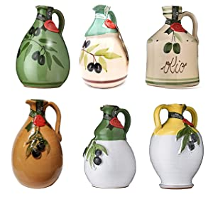 One (single) GALANTINO Extra Virgin Olive Oil in Hand Painted Ceramic Amphora, One Jug From the Six Shapes and Styles, 17 ounce (500ml), A loaf of bread, a jug of olive oil, and thou . . .