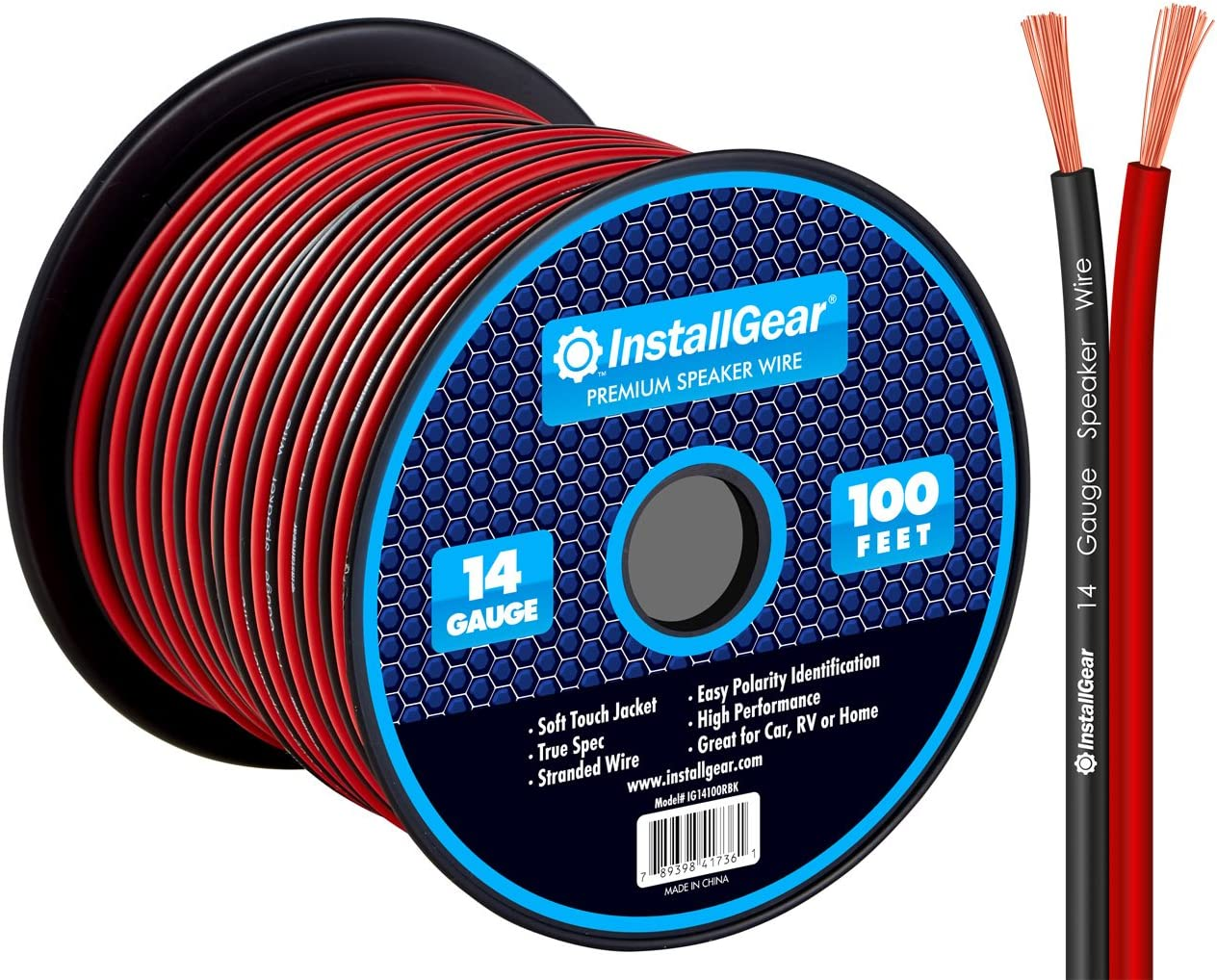 InstallGear 14 Gauge AWG 100ft Speaker Wire Cable - Red/Black: Home Audio & Theater