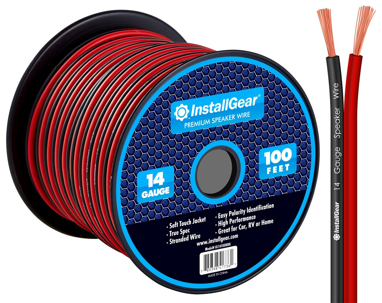 InstallGear 14 Gauge AWG 100ft Speaker Wire Cable - Red/Black
