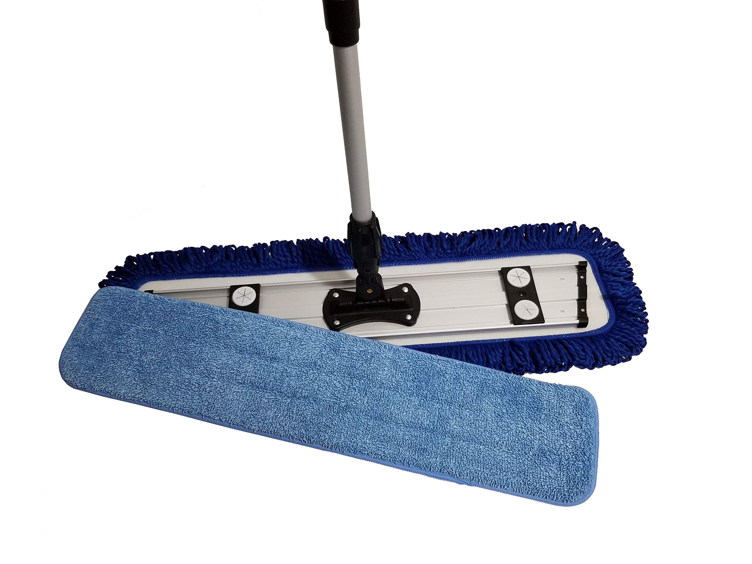 Microfiber Mop Professional Grade 24'' Kit by IdaSmart | Robust Aluminum Handle & Frame | 2 Premium Mop Pads | Hardwood, Laminate, Tile, Vinyl, Stone and Concrete Floor Care and Cleaning