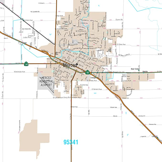Amazon.com: Merced, CA Metro Area Wall Map - 2018 - ZIP ...