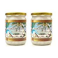 Organic Coconut Oil, Extra Virgin Unrefined Cold-Pressed, 2 Pack of 16.91 oz for...