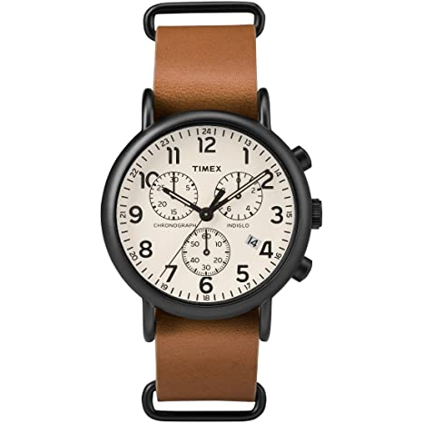 Timex Men's TW2T29300 Weekender Chrono Tan/Black/Cream Two-Piece Leather Strap Watch Men at amazon