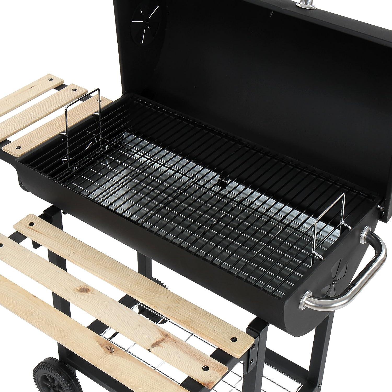 Broil - master - Barbacoa de carbón vegetal con 2 ruedas y soporte de listones de madera (incluye: parillas, rejillas, varios respiradores, termómetro, ...