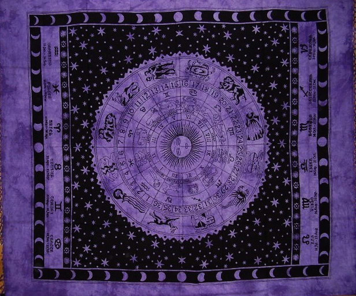 India Arts Astrological Tapestry Cotton Bedspread 92 x 82 Full Purple