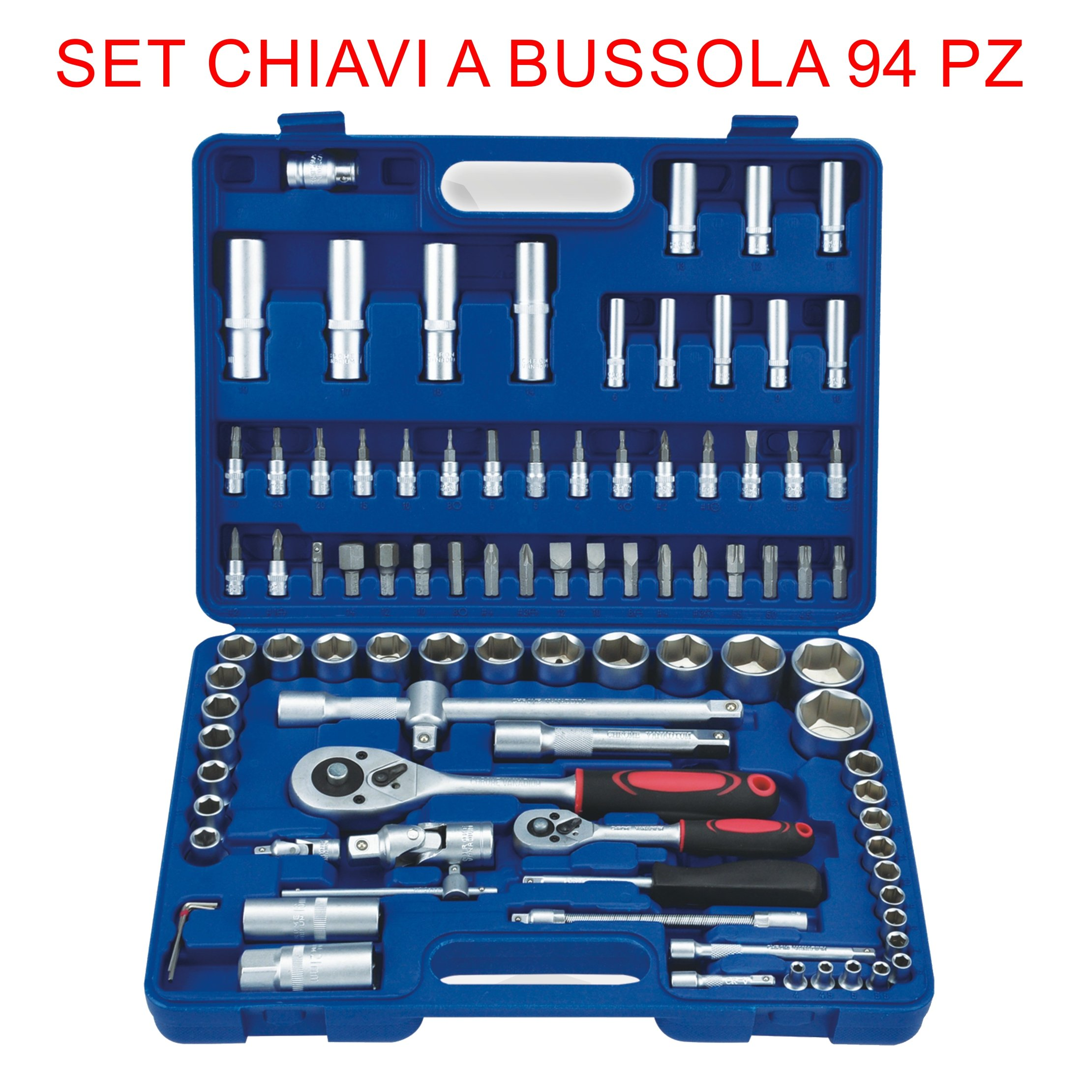 euronovità en-28891Ratchet Combination Spanners Set, 94Pieces, Socket with Inserts, Hand Tools for Work