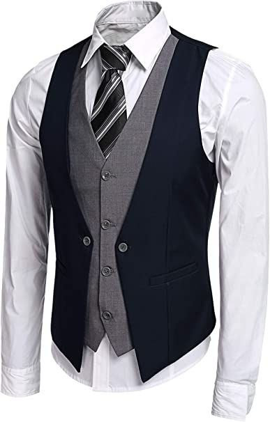 JINIDU Mens Classic Waistcoat Jacket Slim Fit Business Wedding Suit Vest