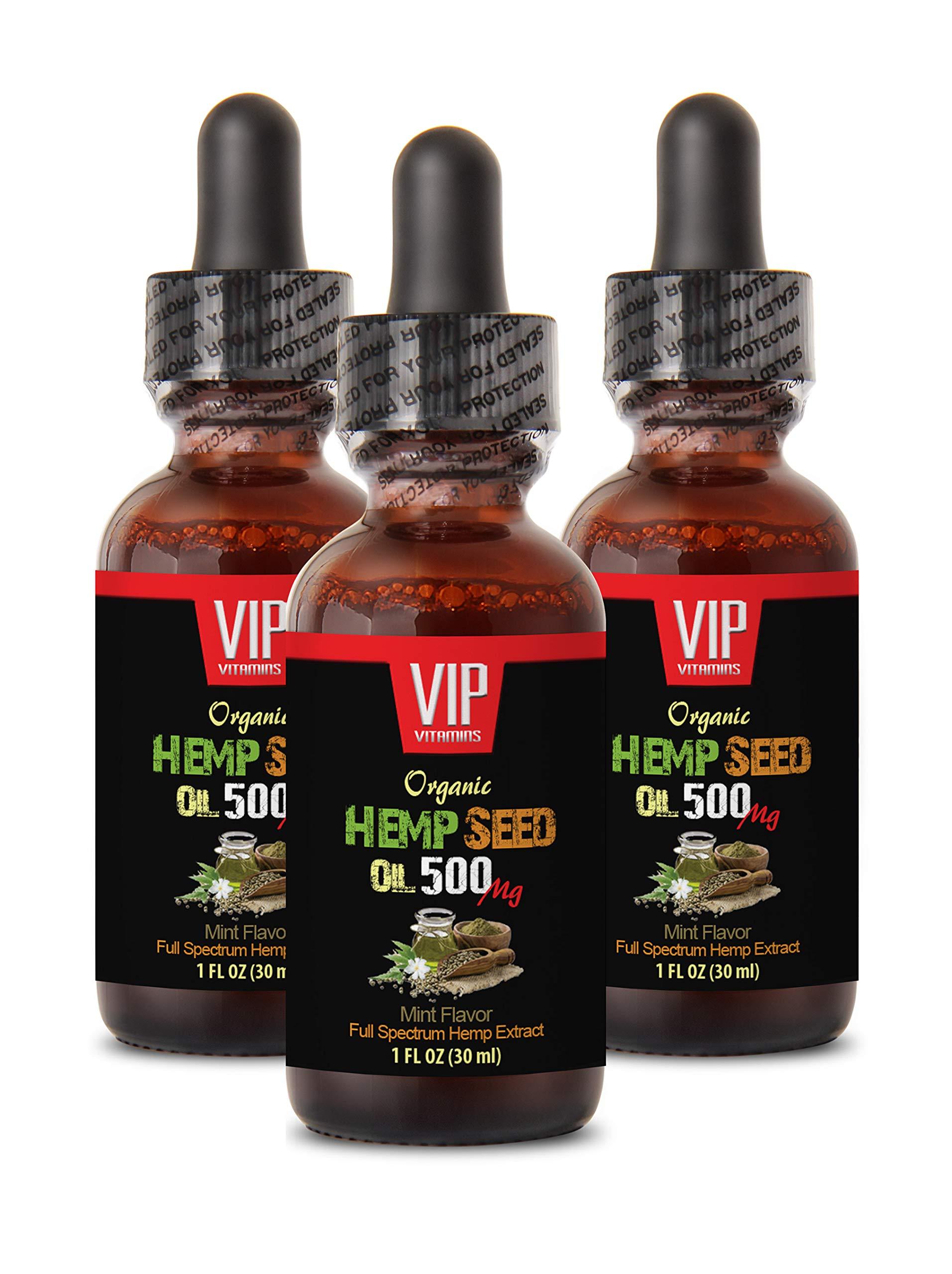 Inflammation Supplements for Men - Hemp Seed Oil 500 MG Organic - Hemp Oil for Blood Pressure - 3 Bottles 3 FL OZ (90 ML)