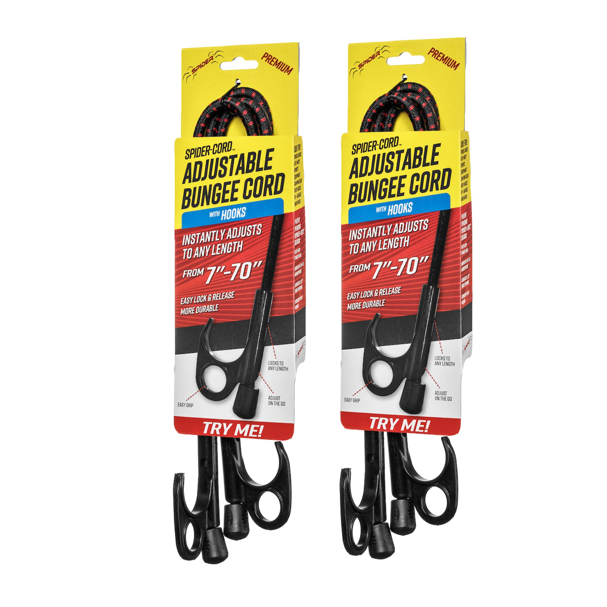 SPIDER Heavy-Duty Bungee Cords with Adjustable & Locking Length, Patent Pending, Tie-Down, with Hooks Only, 2-Pack by SPIDER